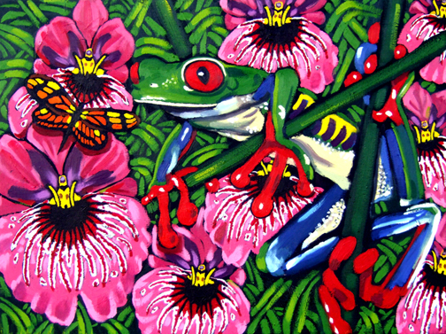 "Red Eye Tree Frog, Butterfly & Orchids, 40""x30"" © 2007 Lili Bernard, Available for purchase"