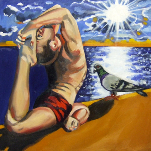 "Man in Pigeon Pose, Oil on Canvas, 20""x20"" © 2007 Lili Bernard, Collection Tiffany & Jerry Blackwell"