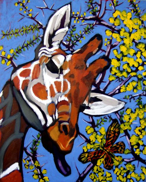 "Giraffe, Butterfly & Acacia, Oil on Canvas, 40""x30"" © 2007 Lili Bernard, Collection Tiffany & Jerry Blackwell, Esq."