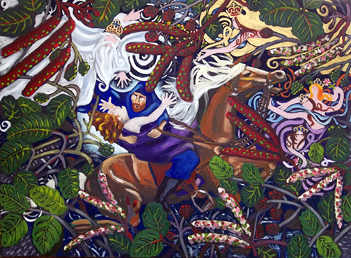 "Goethe's Der Erlkönig, Oil on Canvas, 48""x38"" © 2007 Lili Bernard, Available for Purchase"