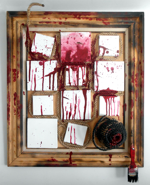 Lili Bernard. Self Portrait Tortured, 2012. Wood, rope, canvas, paint bush, metal screw, acrylic paint, 31″x28″x5″ Available for purchase
