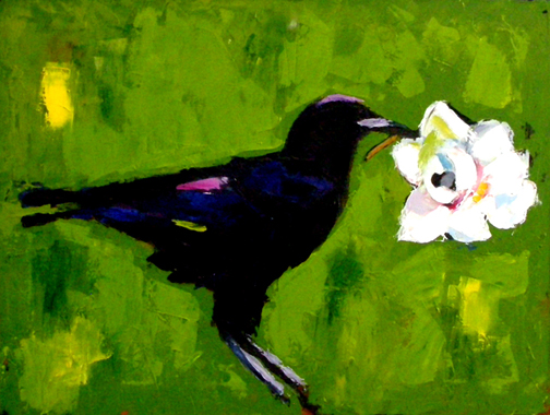 "Crow and Magnolia in Pallet Knife, Oil on Canvas, 48""x38"" © 2007 Lili Bernard, Collection Natalie Kanem, M.D."