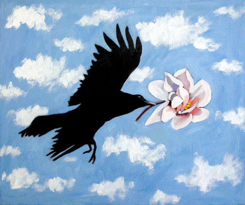 "Crow Flying, Carrying Magnolia Flower, Oil on Canvas, 24""x20"" © 2007 Lili Bernard, Available for purchase"