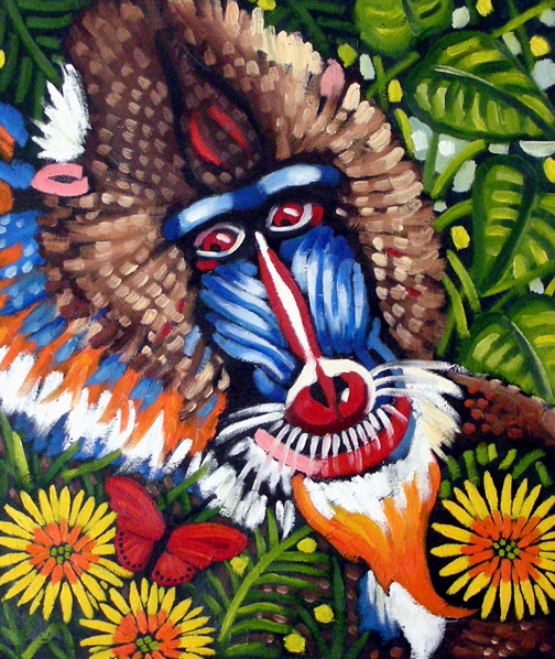 "Mandrill, Butterfly & African Daisies, Oil on Canvas, 30""x24"" © 2007 Lili Bernard, Collection Roger Guenveur Smith & LeTania Kirkland"