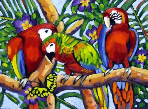 "Three Macaws & Butterfly, Oil on Canvas, 20""x16"" © 2007 Lili Bernard, Collection Tiffany & Jerry Blackwell, Esq."