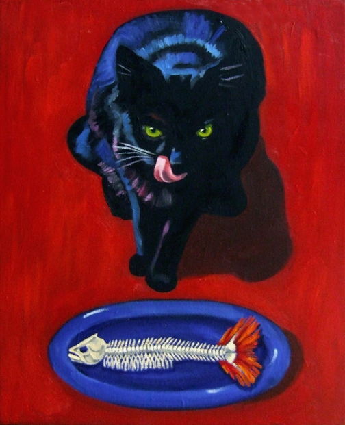 "Black Cat, Blue Dish, Oil on Canvas, 24""x18"" © 2007 Lili Bernard, Collection Tiffany & Jerry Blackwell, Esq."