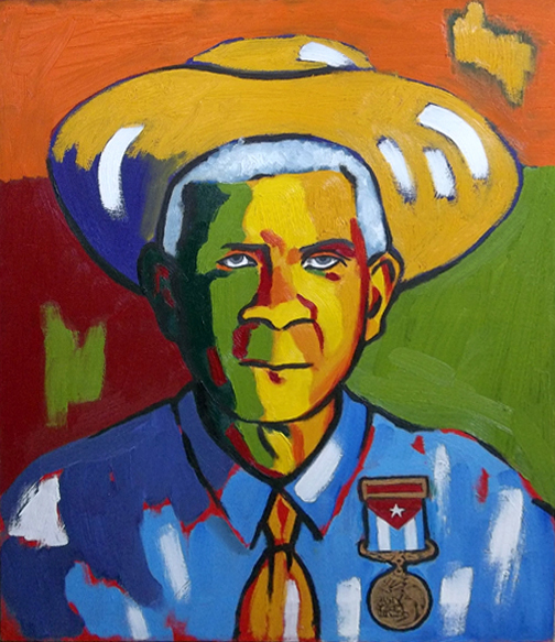 "Abuelo José (My Grandfather), Oil on Canvas, 28""x22"" © 2011 by Lili Bernard, Available for Purchase"