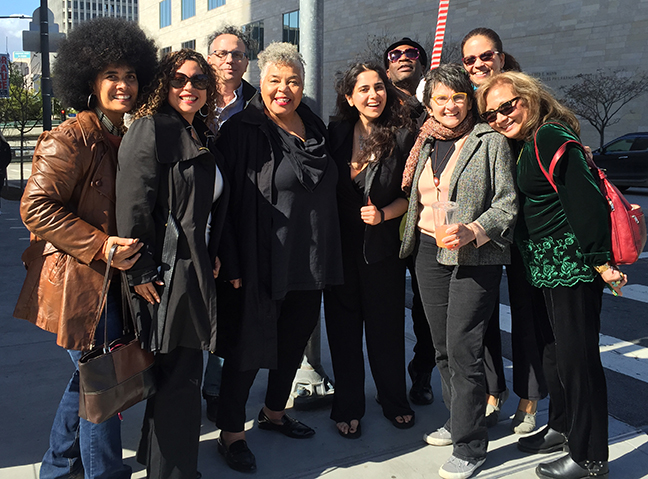 Some of the attendees at the MoCA-BAILA roundtable. Left to Right: Lili Bernard (BAILA Founder/Organizer), Jane Castillo, Ken Marchionno, Scotti Scott, Marjan Vayghan, Karl Pétion, Kim Abeles, Holly Tempo