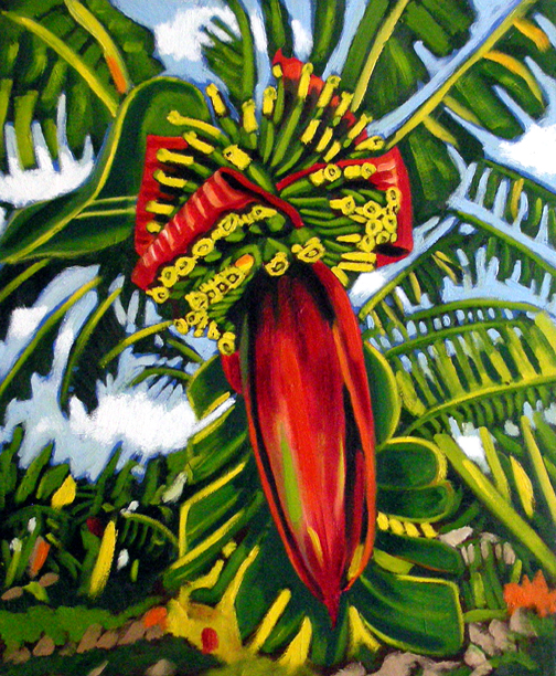 "Heavenly Banana Flower, Oil on Canvas, 30""x26"" © 2007 Lili Bernard, Collection Tiffany & Jerry Blackwell"