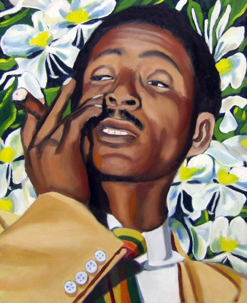 "Benny Moré and Mariposa Flowers, Oil on Canvas, 24""x20"" © 2007 by Lili Bernard, Collection of Marcia Lewis"