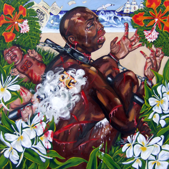 "My Ancestors' Arrival in Cuba, Oil on Canvas, 48 ""x48"" © 2007 by Lili Bernard, Available for purchase"