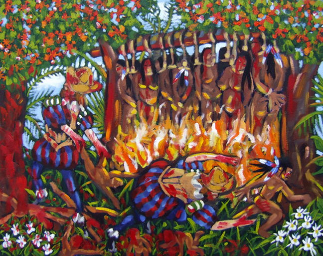 "My Siboney Ancestor Escaping the Wrath, Oil on Canvas, 30""x24"" © 2007 by Lili Bernard, Collection of Father Bill Axe"
