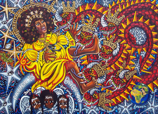 "Blessed Mother and the Dragon, Oil on Canvas, 48""x36"" © 2011 Lili Bernard, Available for Purchase"