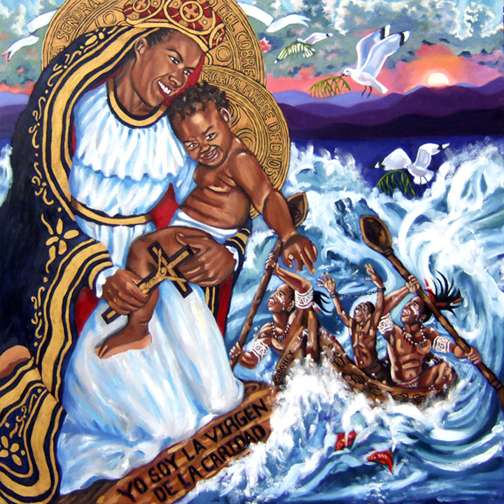 "Cachita-Ochun: La Virgen de Caridad del Cobre, Oil on Canvas, 48""x48"" © 2010 by Lili Bernard, Available for Purchase"