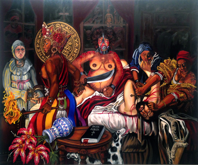 "Carlota Slaying the Slaver, Oil on Canvas, 72""x60"" © 2014 by Lili Bernard (after Artimesia Gentilesch's Judith Slaying Holofernes)"