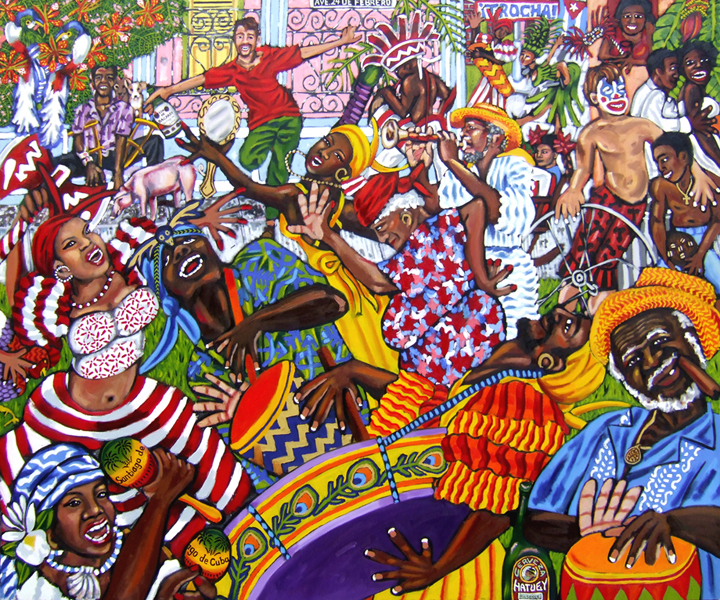 "Carnaval en La Trocha, Oil on Canvas, 72""x60"" © 2009 by Lili Bernard, Available for purchase"