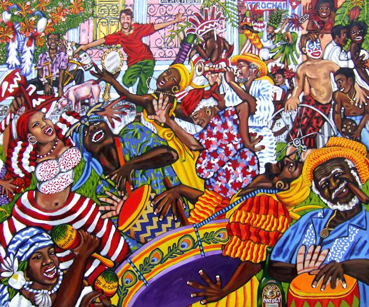 """Carnaval en La Trocha, Oil on Canvas, 72""""x60"""" © 2009 by Lili Bernard, Available for purchase"""