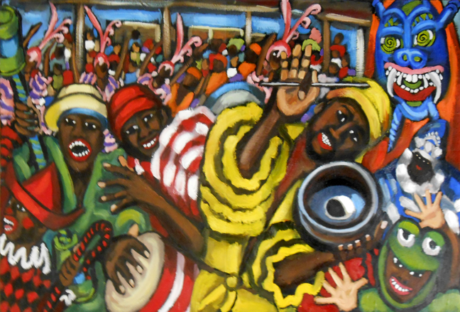 """Carnaval en Santiago De Cuba Street, Oil on Canvas, 24""""x30"""" © 2014 by Lili Bernard"""