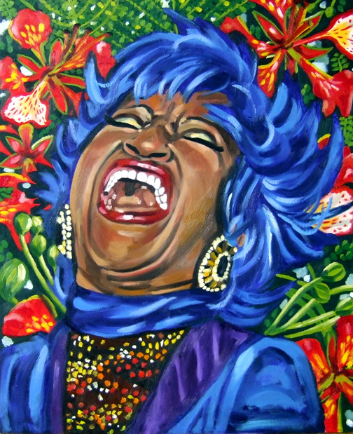 "La Flamboyante Celia Cruz, Oil on Canvas, 28""x22"" © 2007 by Lili Bernard, Collection of Marcia Lewis"