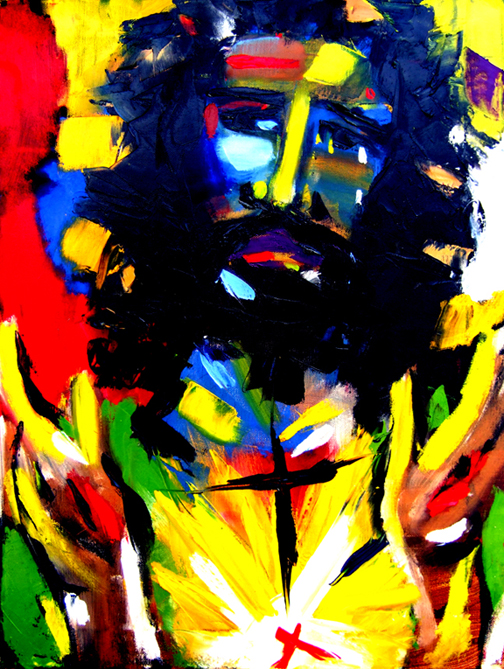 "Christ of Empathy, Oil on Canvas, 48""x36"" © 2010 Lili Bernard, Collection Tiffany & Jerry Blackwell, Esq."