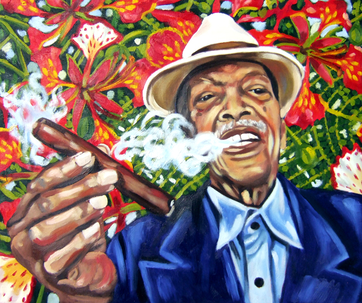 "El Flamboyante Compay Segundo, Oil on Canvas, 24""x20"" © 2007 by Lili Bernard, Collection of Marcia Lewis"