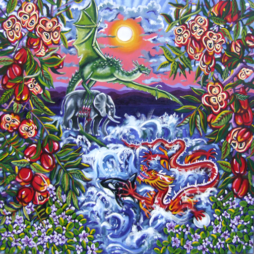 "Dragon Rendezvous: Courtship of my Great-Grandparents Miss Lou & Chung Fatt, Oil on Canvas, 36""x36"" © 2009 by Lili Bernard, Available for Purchase"