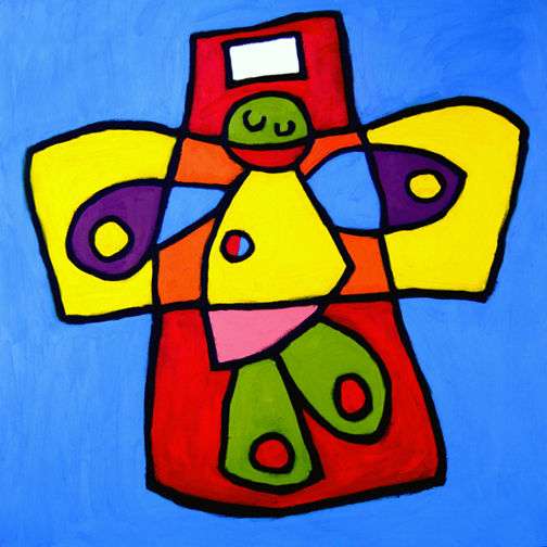 "Elias' Christ, Oil on Canvas, 40""x40"" © 2007 Lili Bernard, Collection Marcia Lewis"