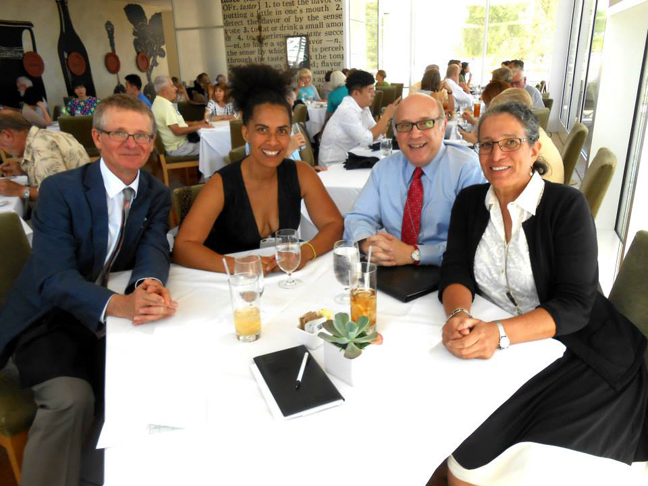 Getty Museum: (L-R) Thomas Kren (Associate Director for Collections), Lili Bernard, John A. Giurini (Assistant Director for Public Affairs), Virginia Heckert (Curator, Dept. of Photographs), September 17, 2014