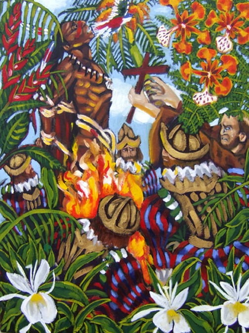 "The Burning of Hatuey, Oil on Canvas, 30""x24"" © 2007 Lili Bernard, Collection John Outterbridge"