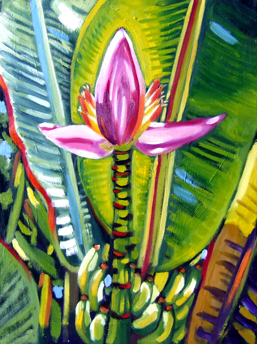 "Holy Banana Flower, Oil on Canvas, 24""x18"" © 2007 Lili Bernard, Collection Tiffany & Jerry Blackwell"