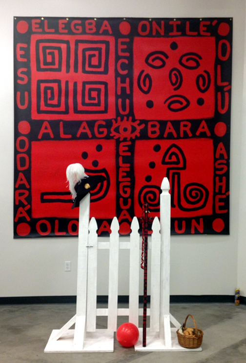 "Elegua Through the Crossroad and the Gate, Mixed Media Installation, 132""x96""x36"" © 2013 by Lili Bernard, Available for Purchase"