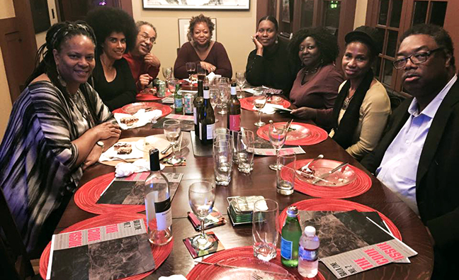 BAILA planning meeting for launching of BAILA Zine 2, edited by artist Kathie Foley-Meyer. Left to Right: Adrienne DeVine, Lili Bernard, Steven J. Brooks, Kathie Foley-Meyer, Lisa Diane Wedgeworth, Brenda Williams, June Edmonds, Vincent Johnson. May 6, 2015, Kathie Foley-Meyer residence, Los Angeles, CA.