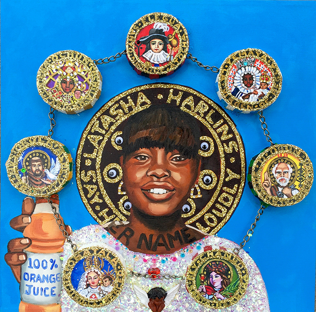 "Lili Bernard. Latasha Harlins en El Cielo con Las 7 Potencias Africanas, 2017. Oil Paint, Acrylic Paint, Metal Chain, Glitter, Plastic Eyeballs, Styrofoam, Plastic Angel, Faux Jewels and Digital Print on Canvas, 20""x20"""