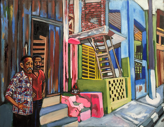 "Lili Bernard. Calle en Santiago De Cuba con Elegua, 2017. Oil on Canvas, 24""x30"" Available for Purchase"
