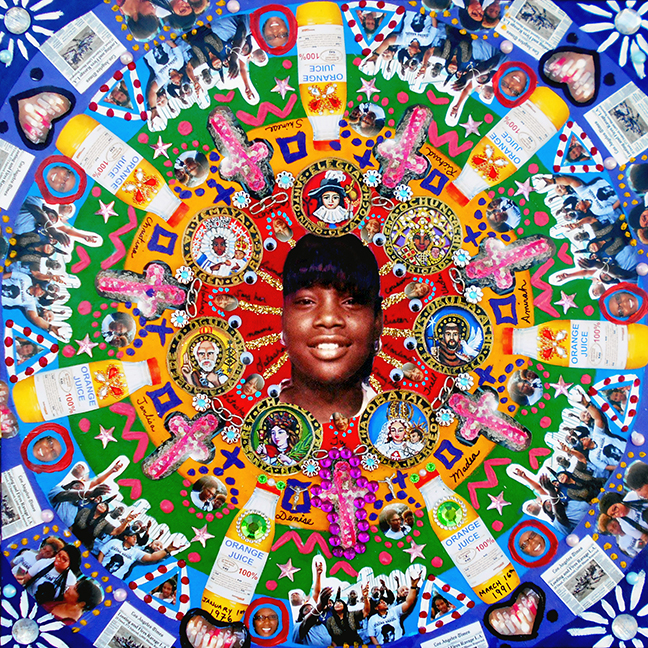 "Lili Bernard. Latasha Harlins y Las 7 Potencias Africans - Kaleidoscope Tribute to the Harlins Family, 2017. Acrylic Paint, Photos, Costume Jewels, Plastic Eyes and Glitter, 20""x20"""