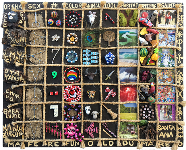Lili Bernard. Orisha Chart One, 2019. Acrylic, Rope, Clay, Metal, Wood, Straw, Plastic, Toys, Candy, Beads, Faux Jewelry and Digital Photos on Canvas, 30x36