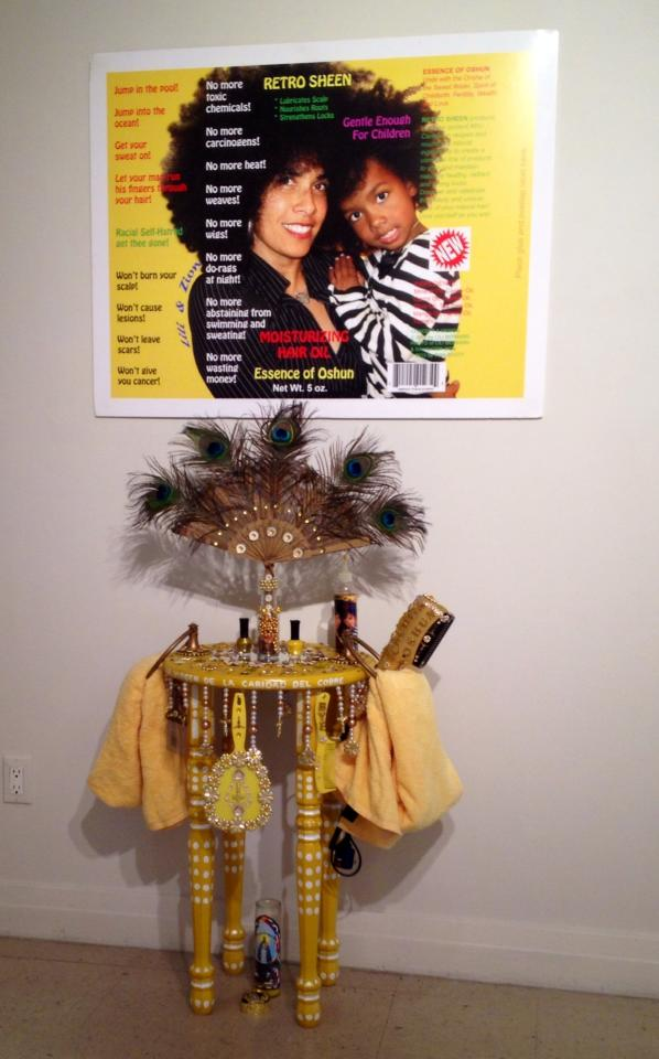 Lili Bernard 2014, Oshun's Altar-Hair Salon for Donning and Dismissal of the Conqueror's Coiffure Installation and Performance