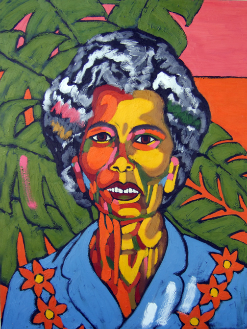 "Mango Mama (My Abuela Princesa), Oil on Canvas, 40""x30"" © 2007 by Lili Bernard, Available for Purchase"