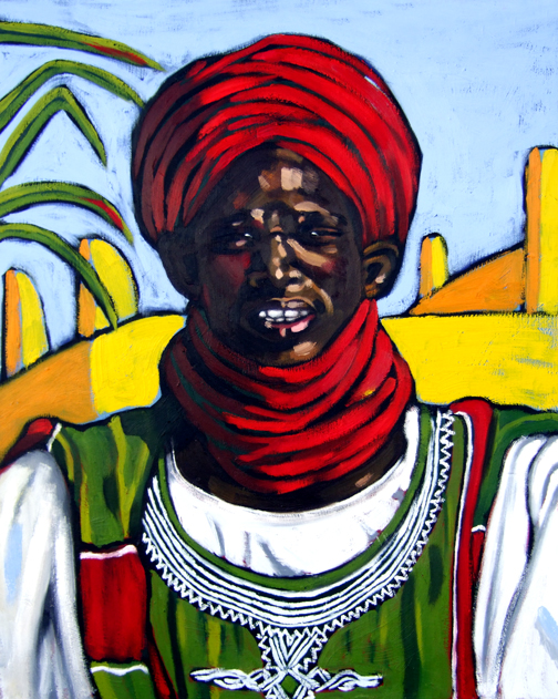 "Nigerian Man, Oil on Canvas, 30""x24"" © 2006 by Lili Bernard, Available for purchase"
