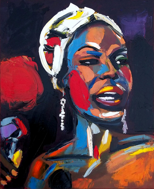 "Nina Simone in Pallet Knife, Oil on Canvas, 30""x24"" © 2011 Lili Bernard, Available for Purchase"
