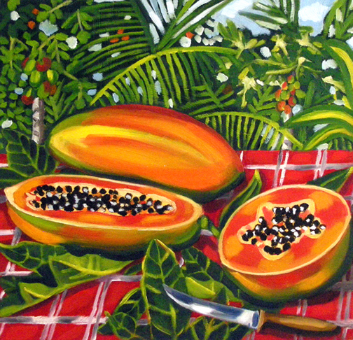 "Papaya Fruit, Oil on Canvas, 18""x18"" © 2007 Lili Bernard, Collection Tiffany & Jerry Blackwell, Esq."