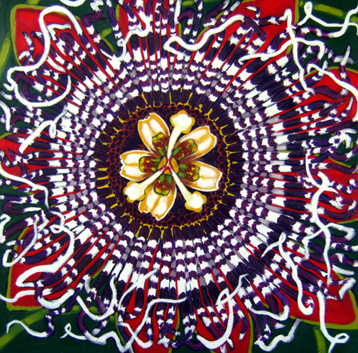 "Passion Flower, Oil on Canvas, 36""x36"" © 2006 Lili Bernard, Collection Cynthia & Richard Gay"
