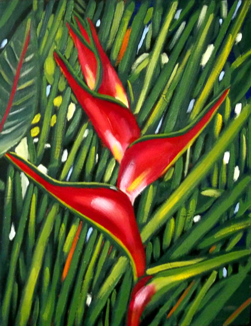 "Plantain Flower, Oil on Canvas, 24""x18"" © 2007 Lili Bernard, Collection Roberto Vargas, MD"