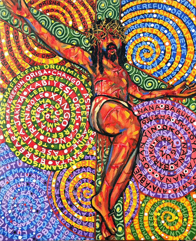 "Lili Bernard. Psychedelic #Christ on the Cross, 2017. Oil on Canvas, 24""x20"""