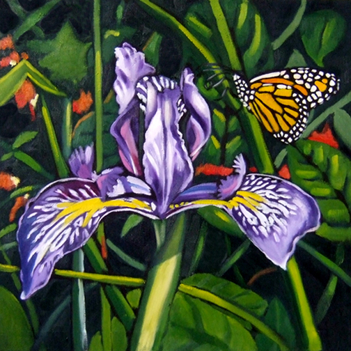 "Purple Iris Flower, Oil on Canvas, 24""x24"" © 2007 Lili Bernard, Collection Roberto Vargas, MD"