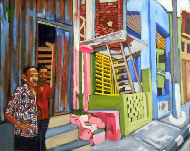 """Calle en Santiago De Cuba Street, Oil on Canvas, 24""""x30"""", © 2014 by Lili Bernard"""