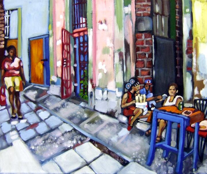 "Santiago de Cuba City Street , Oil on Canvas, 24""x20"" © 2007 by Lili Bernard, Collection of Christina Diaz"