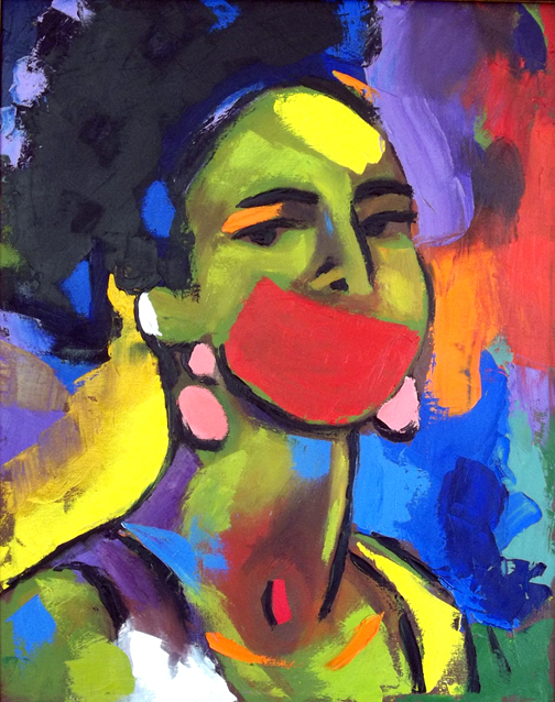 "Self Portrait in Pallet Knife, Red Mouth, Oil on Canvas, 30""x26"" © 2010 by Lili Bernard, Available for Purchase"