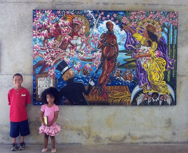 My two youngest, Zion and Joshua, in front of Sale of Venus, 2011 by Lili Bernard