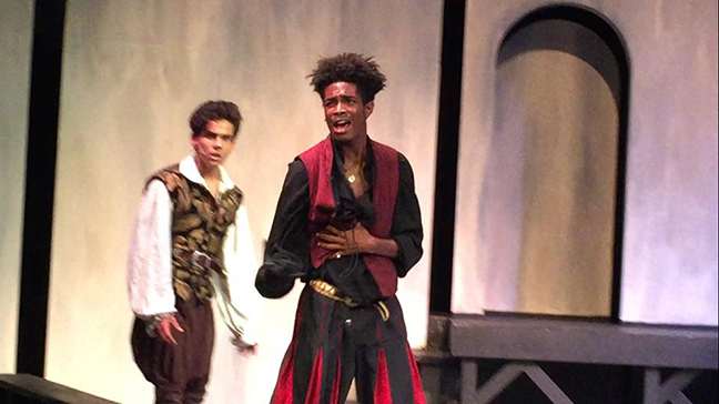 Elias Bernard Ferguson as Mercutio in Romeo and Juliet, Providence High Arts, 2018